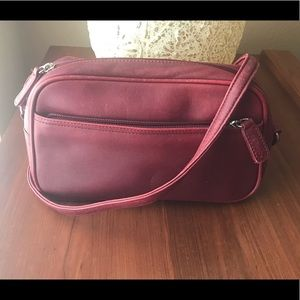 Talbots Genuine Leather Shoulder Bag Red Small